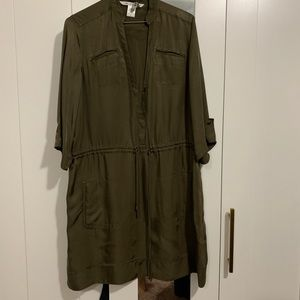 diane von furstenberg military green silk dress
